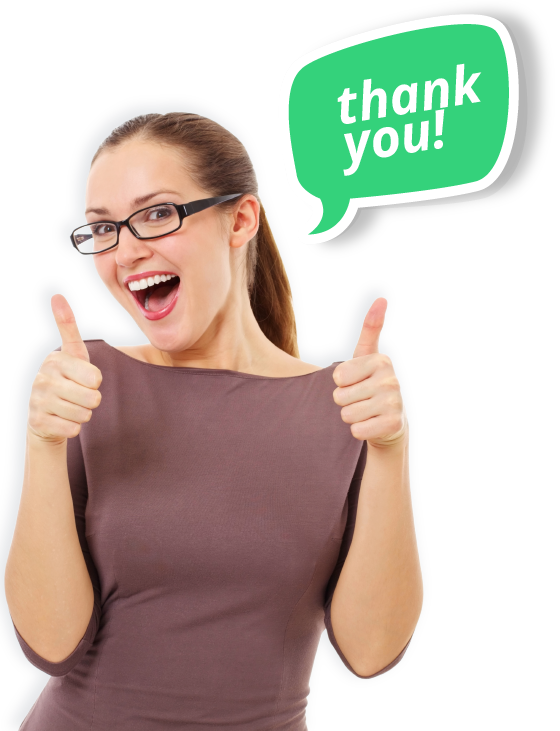 Happy beautiful girl in stylish black glasses showing thumb up symbol by two hands with a green speech bubble saying Thank You