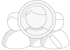 Three person and magnifier for employee sourcing
