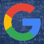 Google logo on blackboard full of equations