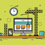 Thin line flat design of website construction