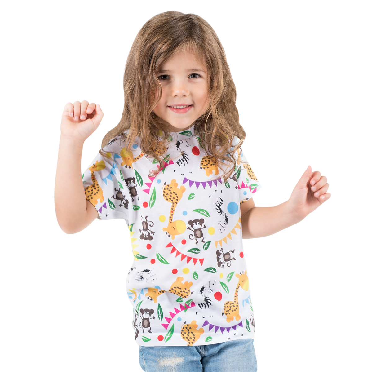 A cute blonde girl wearing a white shirt with animal print design