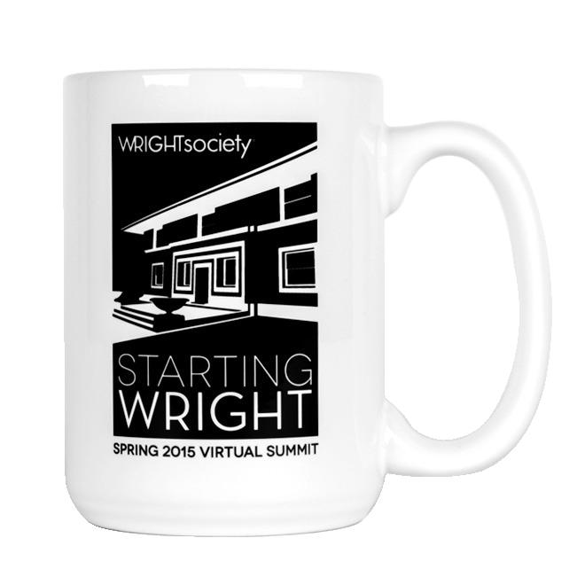 White mug with 'Starting Wright' design